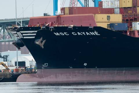 The MSC Gayane is moored at the Packer Marine Terminal in Philadelphia, Wednesday, June 19, 201 ...
