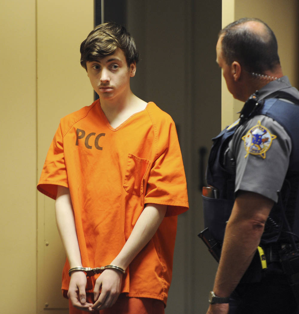 Kayden McIntosh, 16, appears in a Superior courtroom for his arraignment in the Nesbett Courtho ...