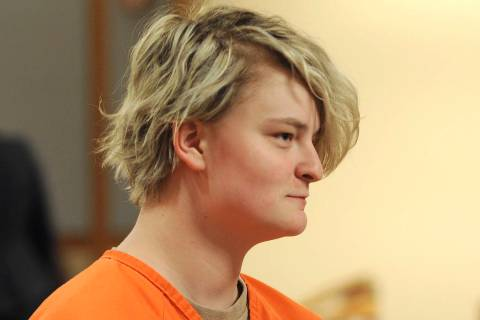 Denali Brehmer, 18, appears in a Superior courtroom for her arraignment in the Nesbett Courthou ...