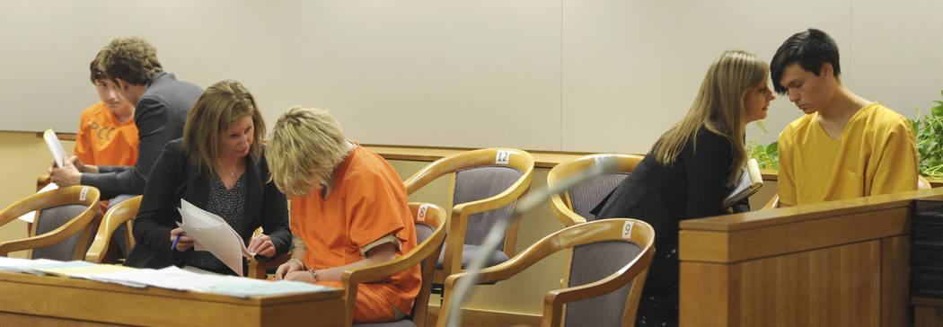 From left, Kayden McIntosh, 16, Denali Brehmer, 18, and Caleb Leyland, 19, are arraigned by a S ...