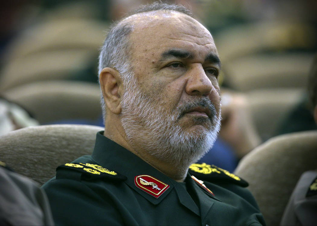 In this April 24, 2019, Iran's Revolutionary Guard commander Gen. Hossein Salami attends a meet ...