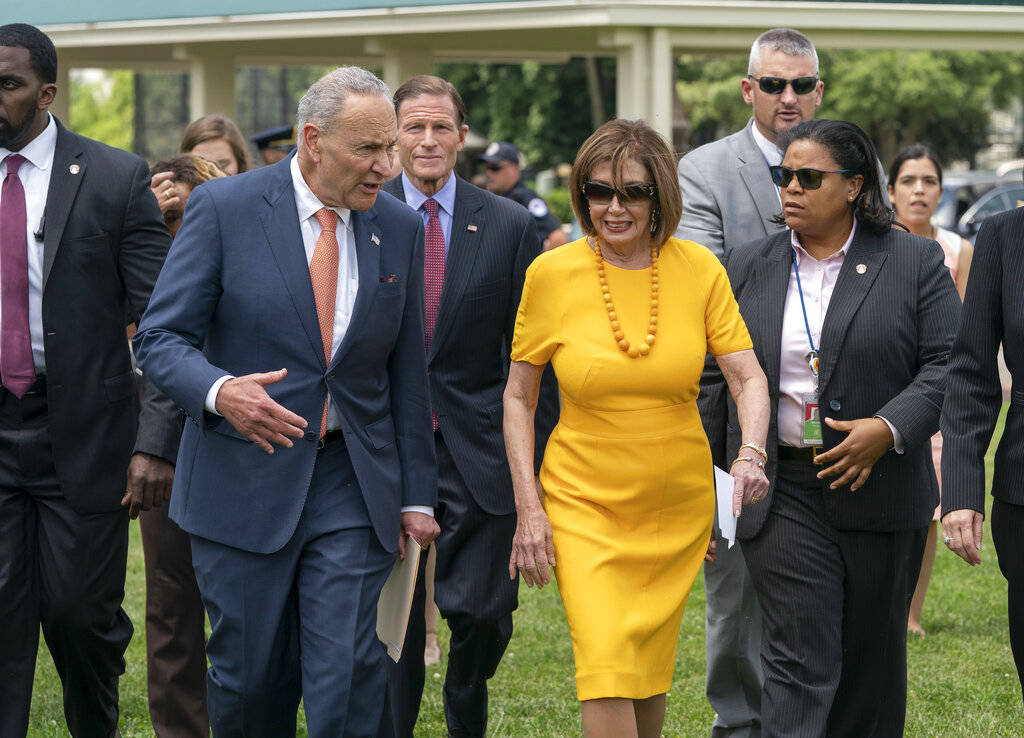 Senate Minority Leader Chuck Schumer, D-N.Y., left, and Speaker of the House Nancy Pelosi, D-Ca ...