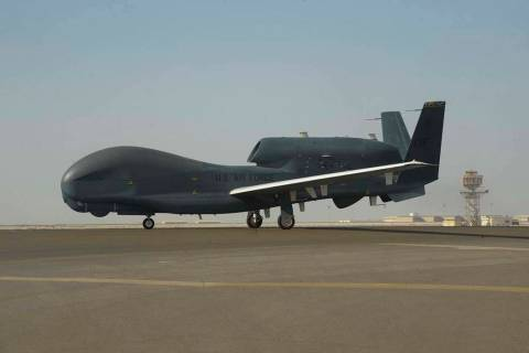 In a Feb. 13, 2018, photo released by the U.S. Air Force, an RQ-4 Global Hawk is seen on the ta ...