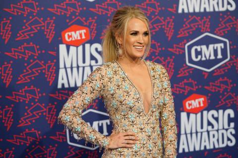 Carrie Underwood arrives at the CMT Music Awards on Wednesday, June 5, 2019, at the Bridgestone ...