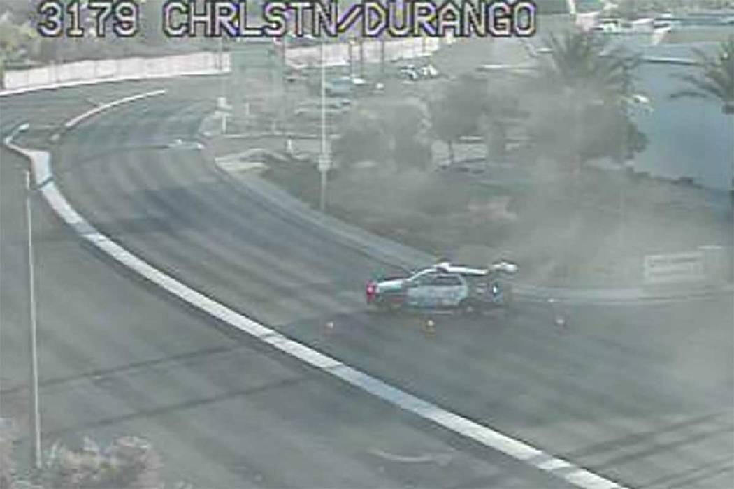 A driver was injured in a single-car crash on Durango Drive near Charleston Boulevard early Thu ...