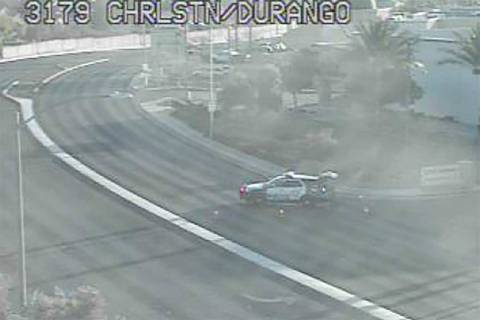 A driver was injured in a single-car crash on Durango Drive near Charleston Boulevard early Thu ...
