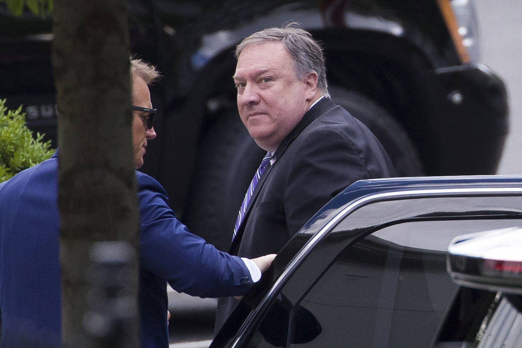 Secretary of State Mike Pompeo arrives for a meeting with President Donald Trump about Iran at ...
