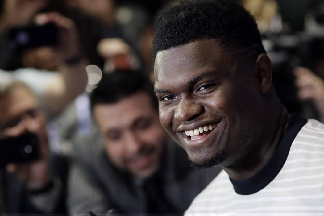 Zion Williamson, a freshman from Duke, attends the NBA Draft media availability, Wednesday, Jun ...