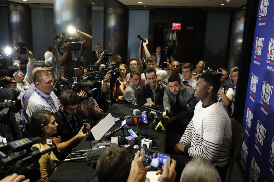 Zion Williamson, a freshman basketball player from Duke, attends the NBA Draft media availabili ...