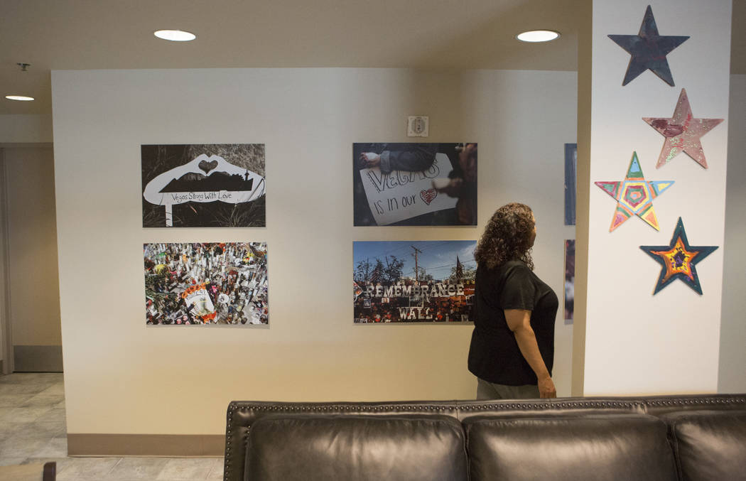 Teresa Etcheberry, coordinator of the Vegas Strong Resiliency Center, walks through the lobby i ...