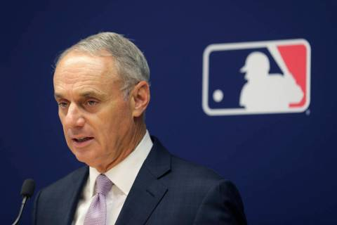 Major League Baseball commissioner Rob Manfred speaks to reporters after a meeting of baseball ...