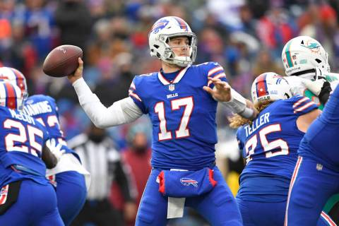 Buffalo Bills quarterback Josh Allen (17) throws during the second half of an NFL football game ...