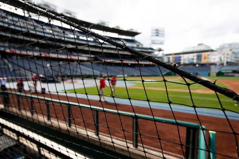 Safety nettings are seen at Nationals Park in Washington, Thursday, June 20, 2019. The National ...