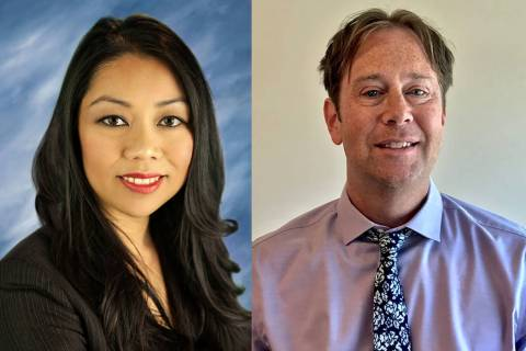 North Las Vegas City Attorney Micaela Moore, left, and Deputy City Attorney Christopher Craft w ...