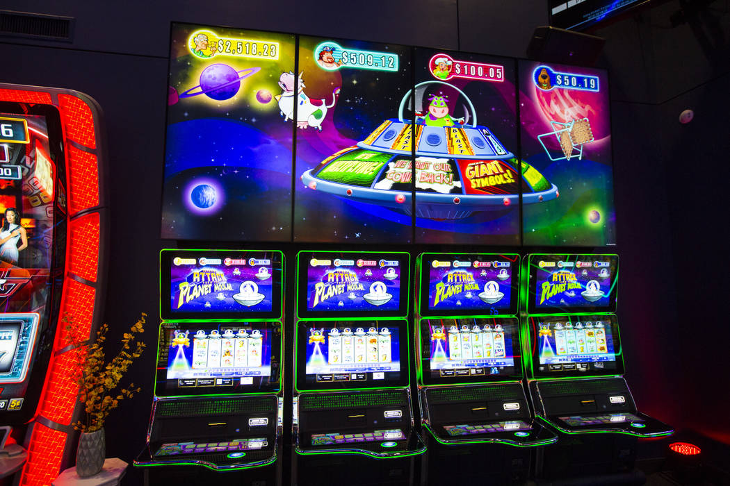 TwinStar Ultra slot cabinets at the Scientific Games showroom in Las Vegas on Wednesday, May 15 ...