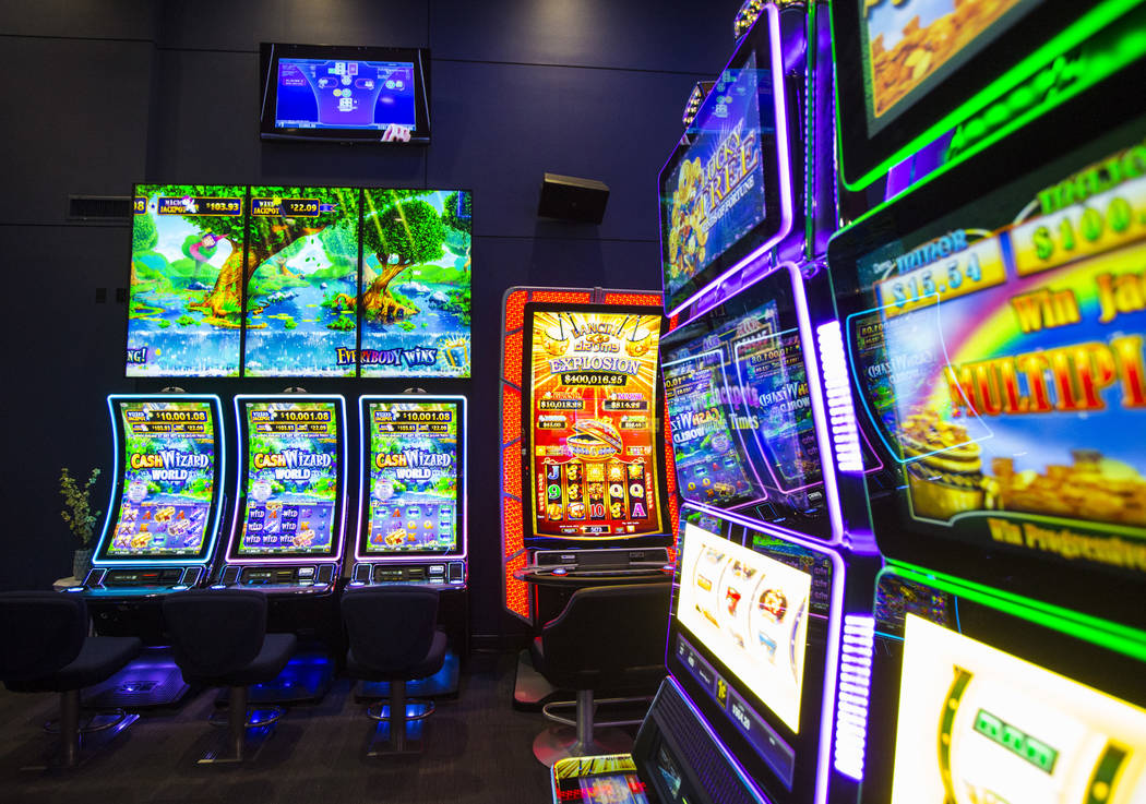 A variety of slot cabinets at the Scientific Games showroom in Las Vegas on Wednesday, May 15, ...