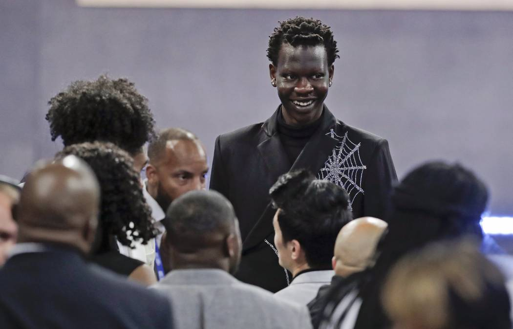 Oregon's Bol Bol smiles before the NBA basketball draft Thursday, June 20, 2019, in New York. ( ...