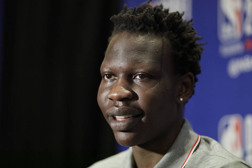 Bol Bol, a freshman basketball player from Oregon, attends the NBA Draft media availability, We ...