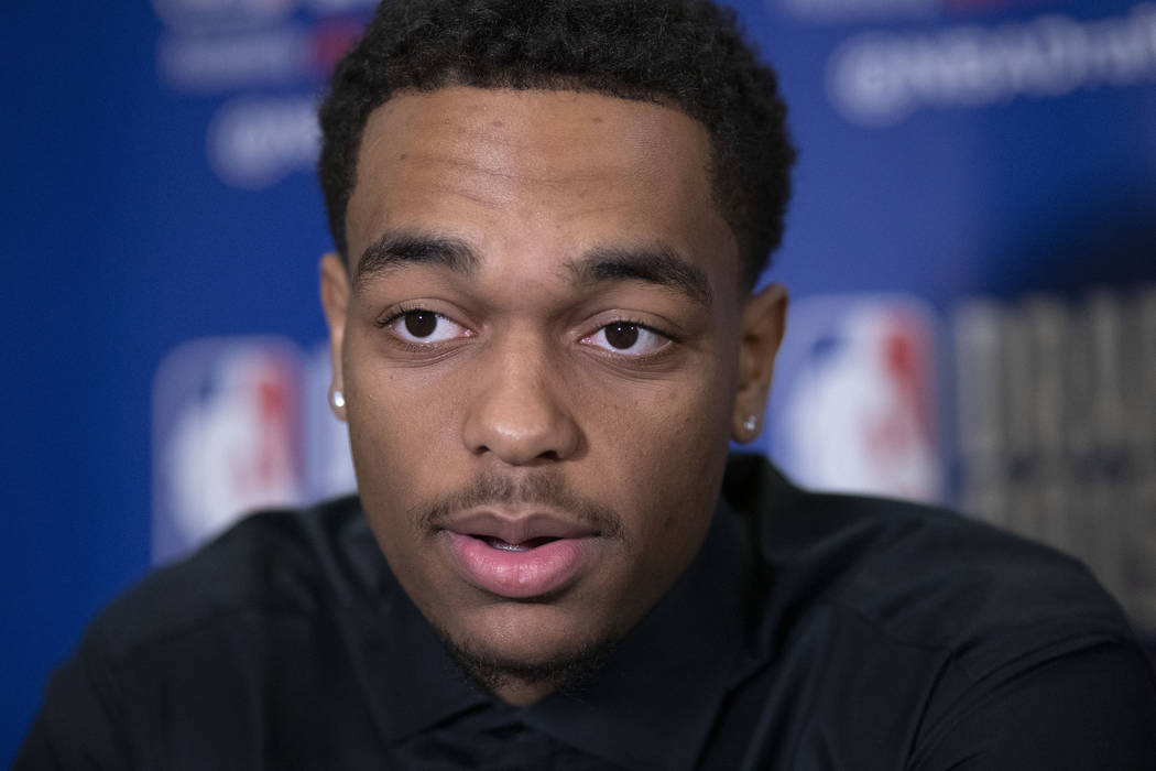 PJ Washington, a sophomore basketball player from Kentucky, attends the NBA Draft media availab ...