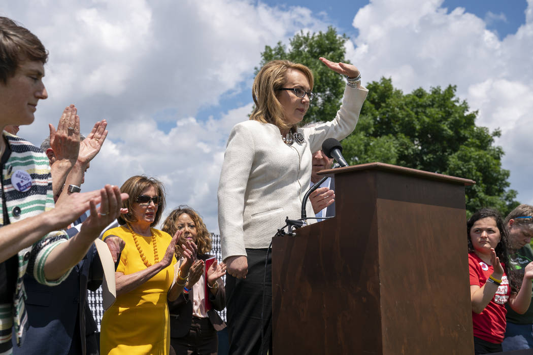 Former Rep. Gabby Giffords of Arizona, who survived an assassination attempt in 2011, joined at ...