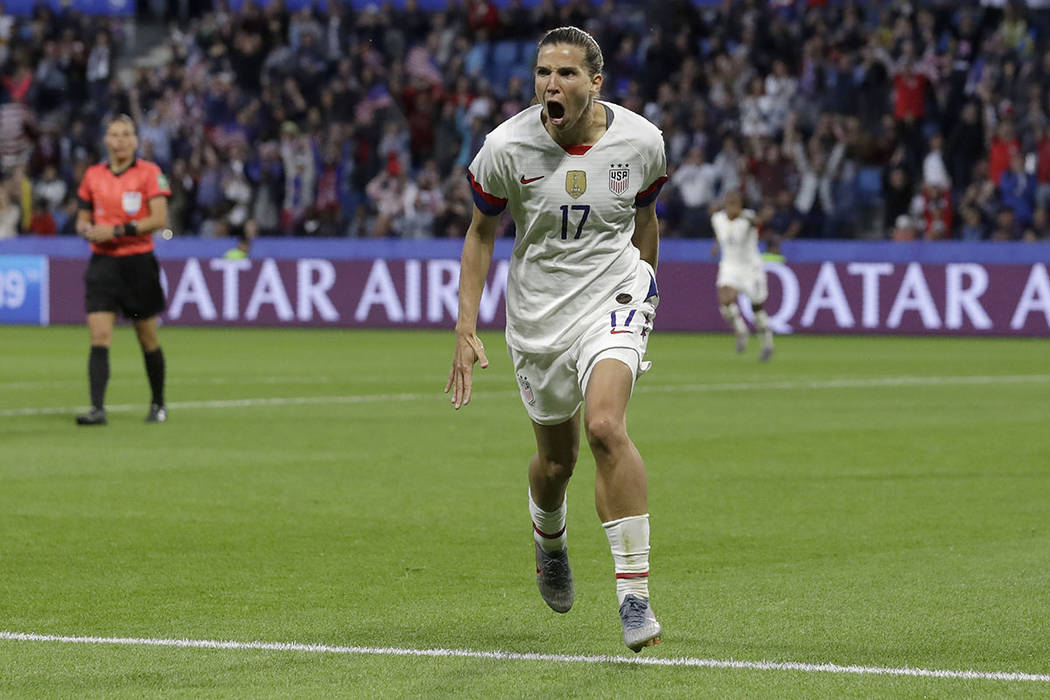 United States' Tobin Heath celebrates after scoring her team's second goal during the Women's W ...