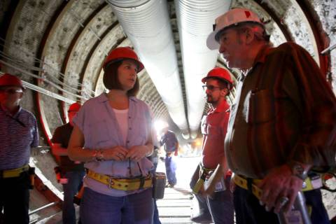 U.S. Sen. Catherine Cortez Masto, D-Nev., talks with Steve Frishman, a technical consultant to ...
