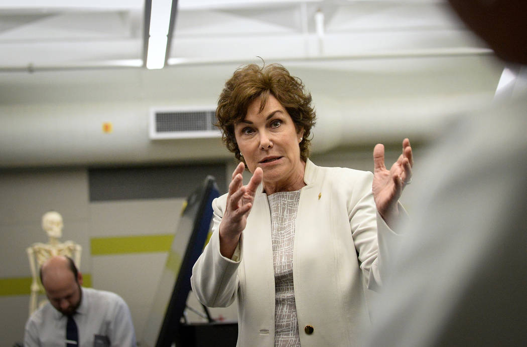 Sen. Jacky Rosen, D-Nev., speaks to a room of students and faculty members as she visits the UN ...