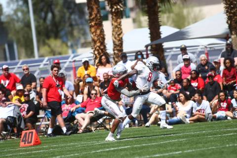 UNLV spring football game at Peter Johann Memorial Soccer Field at UNLV in Las Vegas on Saturda ...