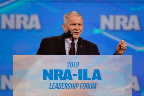 FILE- In this April 26, 2019 photo, Nation Rifle Association President Col. Oliver North speaks ...