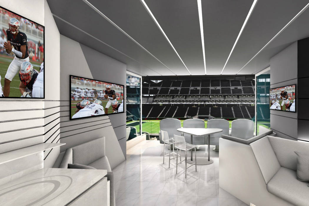 This is a rendering of a suite for UNLV football games at Raiders stadium. Photo by UNLV