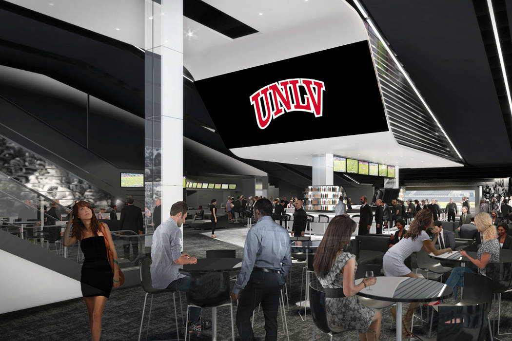 This is a rendering of the club seating area for UNLV football games at Raiders stadium. Photo ...