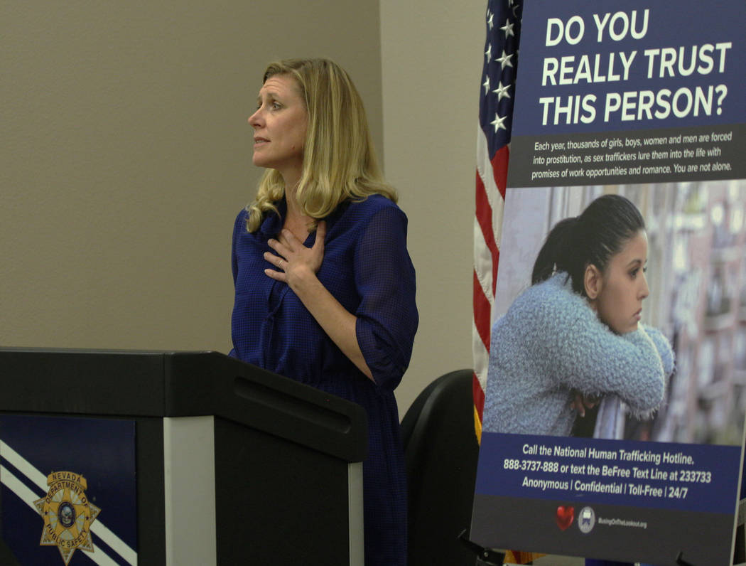 Annie Sovcik, from Colorado, speaks on human trafficking awareness at Nevada Highway Patrol So ...