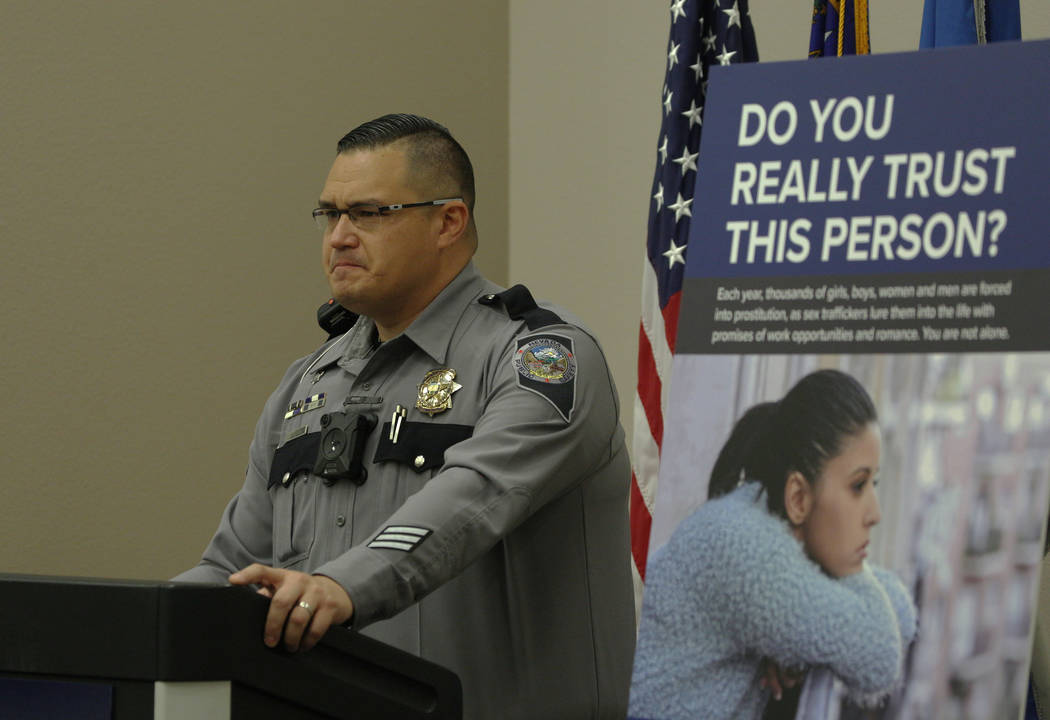 Trooper Brian T. Drohn speaks on human trafficking awareness at Nevada Highway Patrol Southern ...