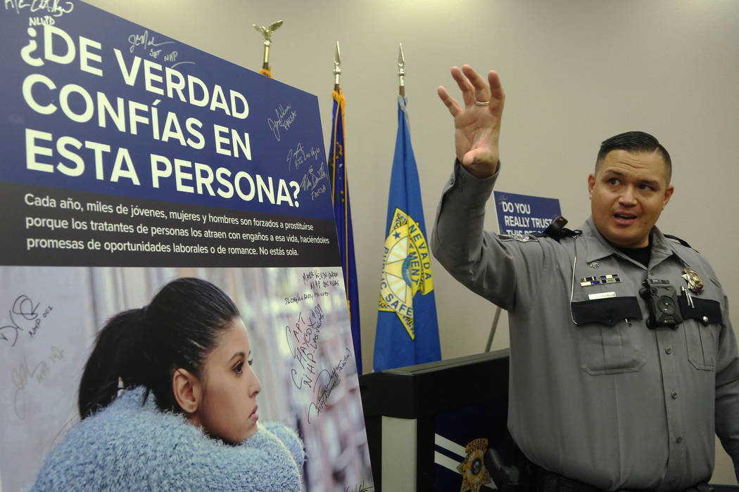 Trooper Brian T. Drohn speaks during the media day to bring awareness to human trafficking at N ...