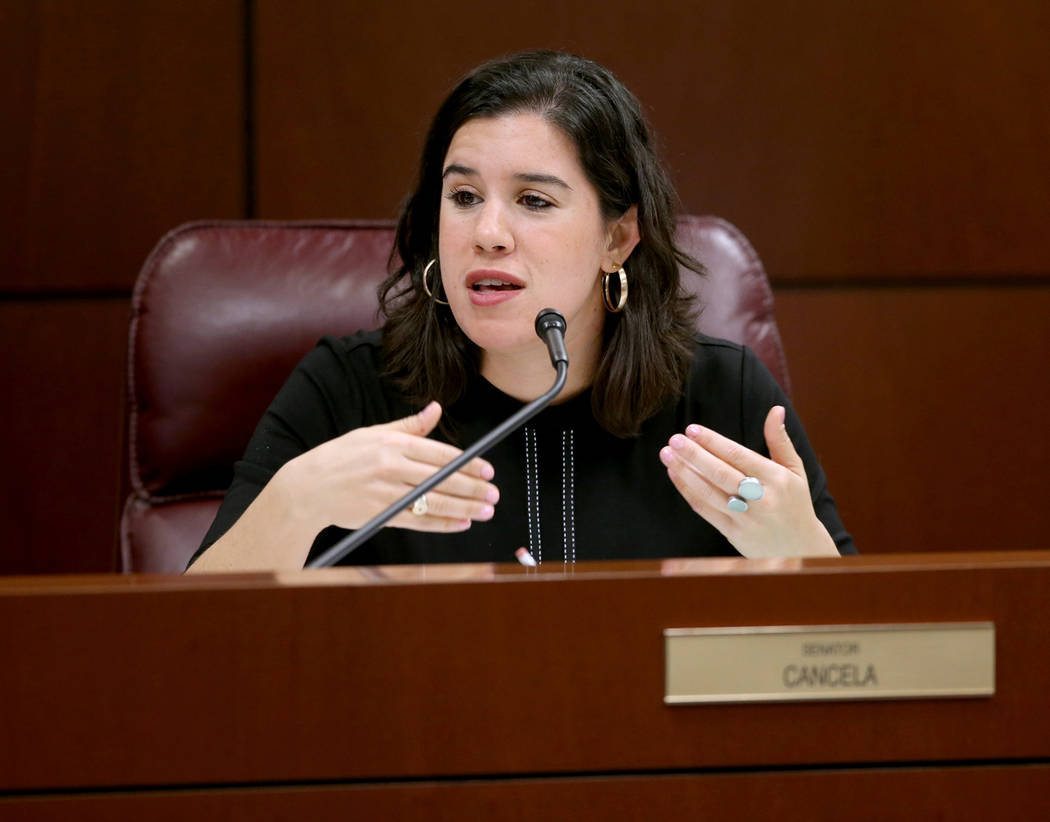 Sen. Yvanna Cancela, D-Las Vegas, asks a question during a Finance Committee meeting in the Leg ...
