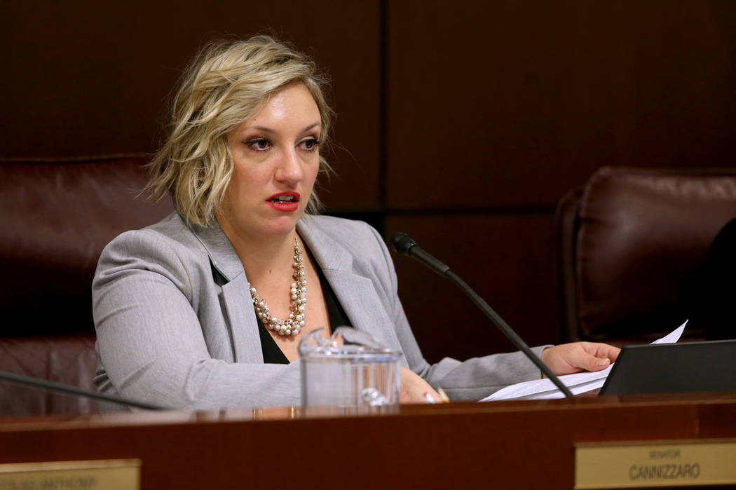 Sen. Nicole Cannizzaro, D-Las Vegas, presides during a Judiciary Committee meeting in the Legis ...