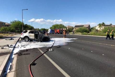 One person was injured after a crash Thursday, June 20, 2019, on South Pavilion Center Drive ju ...