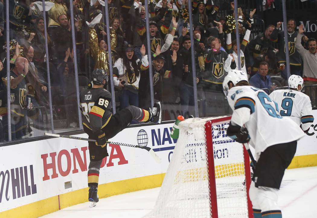 Golden Knights right wing Alex Tuch (89) celebrates his goal against San Jose Sharks goaltender ...