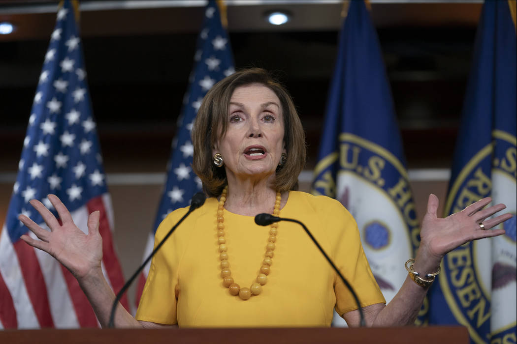 Speaker of the House Nancy Pelosi, D-Calif., meets with reporters before joining congressional ...