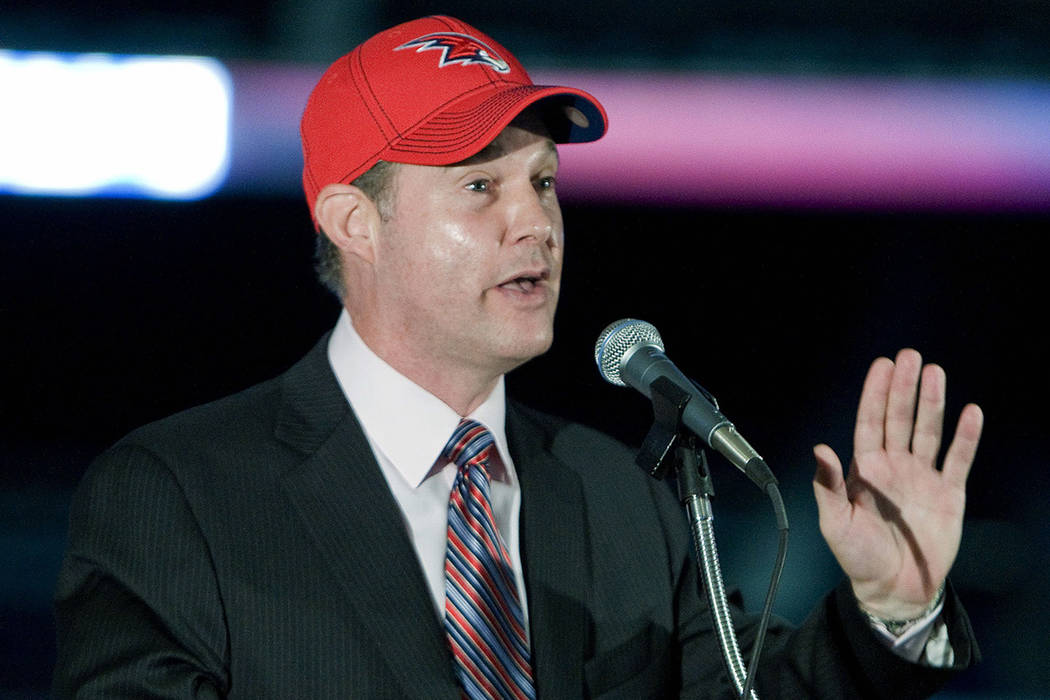 Alex Meruelo speaks during a news conference in Atlanta on Monday, Aug. 8, 2011. (AP Photo/W.A. ...