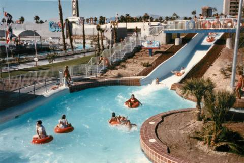 Visitors ride the Raging Rapids ride at Wet 'n Wild on Las Vegas Boulevard in 1988. (Las Vegas ...