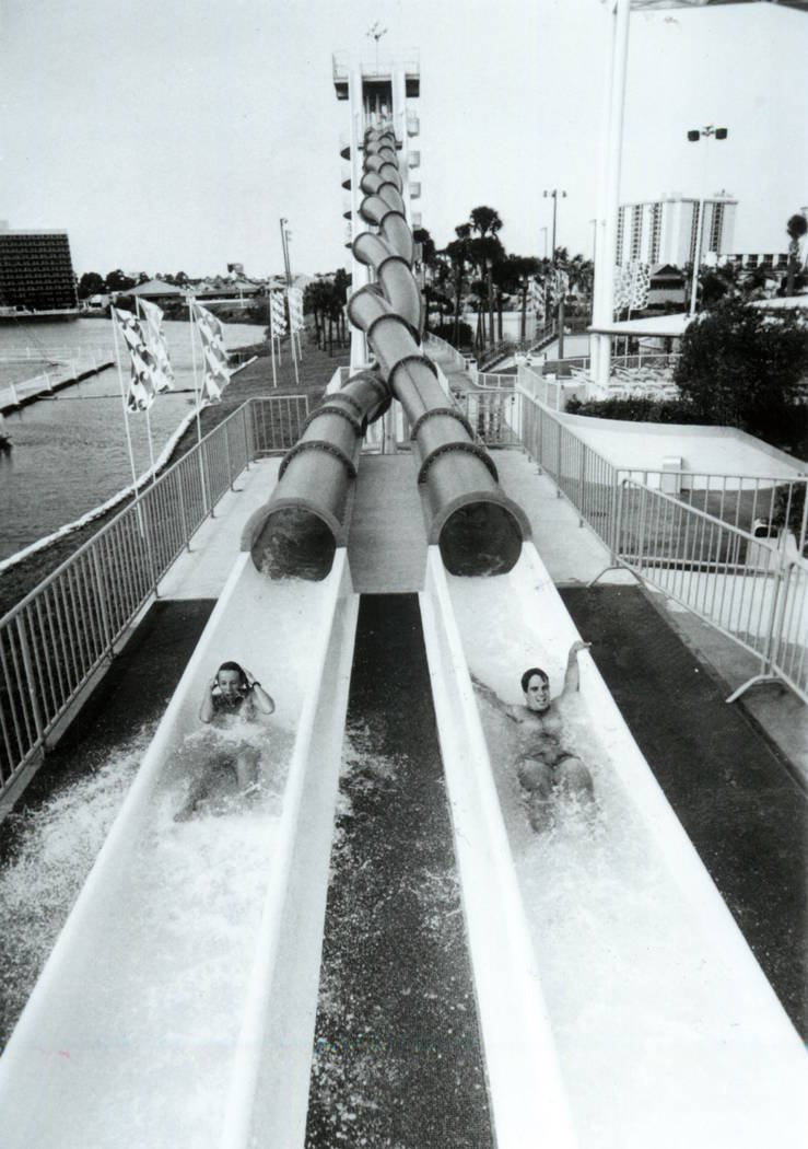 Guests hit the water after completing a slide at Wet'n'Wild on Las Vegas Boulevard in 1989. (La ...