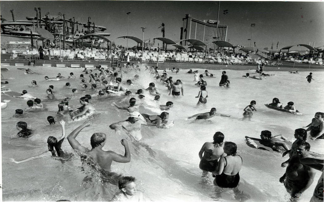 Attendees take cool off in the wave pool at Wet 'n' Wild on Las Vegas Boulevard in 1989. (Don E ...
