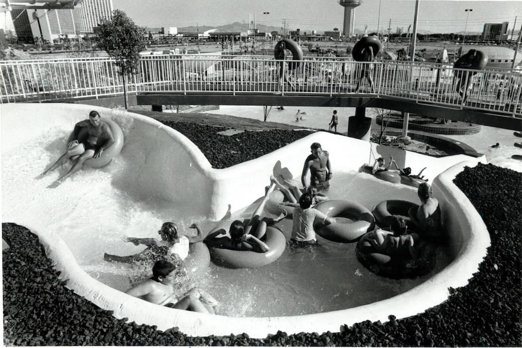 Guests enjoy a ride at Wet 'n' Wild on Las Vegas Boulevard in 1989. (Don Euoff/ Las Vegas Revie ...