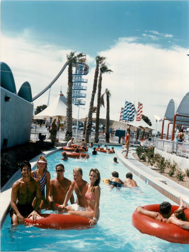 Guests float down the lazy river at Wet'n'Wild on Las Vegas Boulevard in 1988. (Las Vegas Revie ...
