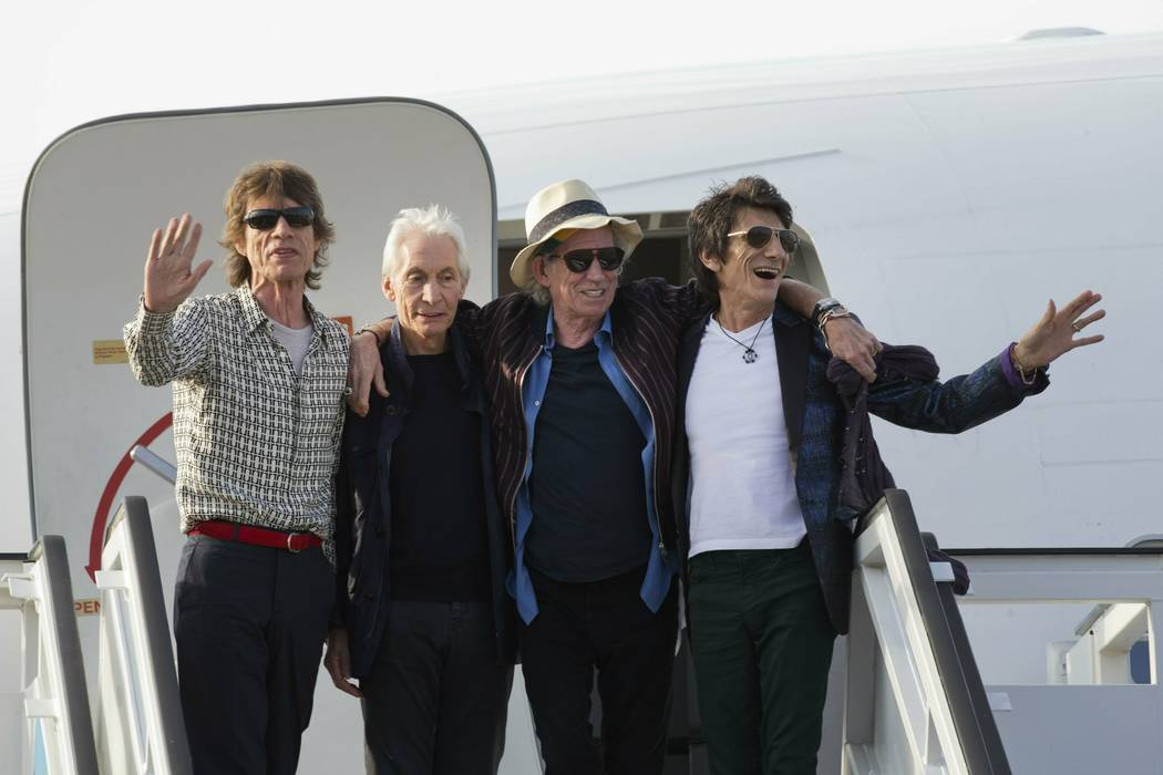 In a March 24, 2016, file photo, members of The Rolling Stones, from left, Mick Jagger, Charlie ...