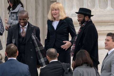 In this March 20, 2019, file photo, Attorney Sheri Johnson leaves the Supreme Court after chall ...