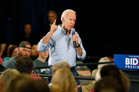 Democratic presidential candidate former Vice President Joe Biden speaks at Clinton Community C ...
