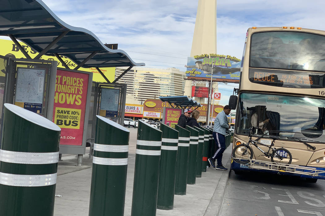 Steel bollards like the ones pictured in front of a bus shelter on Las Vegas Boulevard near Sah ...
