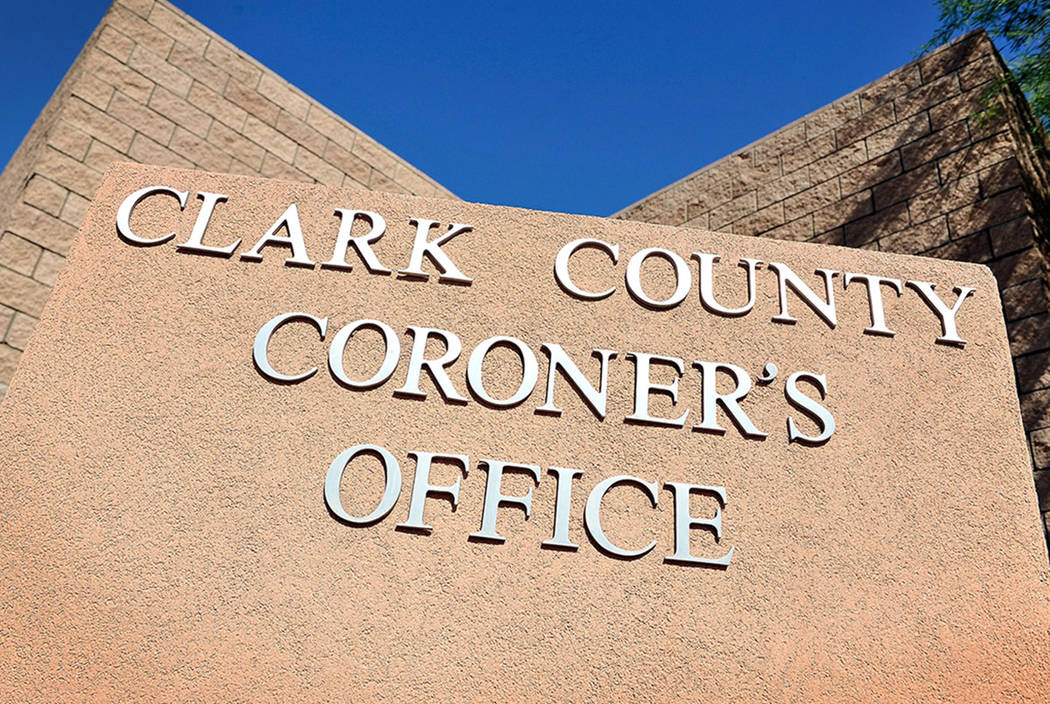 The monument sign for the Clark County Coroner is seen on Friday, Oct. 17, 2014. (David Becker/ ...
